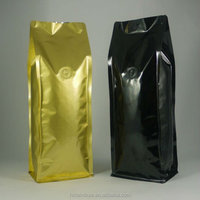 Quad Seal Gusset Pouch / Bag For 5 lb Ground Coffee Packaging & Ground Coffee Foil Gusseted Packaging Pouch