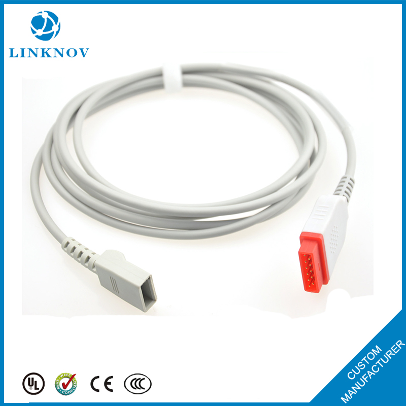High Quality IBP Adapter Cable Pressure Transducer Cable , 6 pins IBP Cable