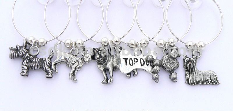 Dog Breeds Pet Wine Glass Charms - Yorkie, Westie, Pug and Poodle