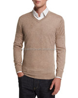 solid color knitted men's sweaters v-neck silk cashmere blended sweater men
