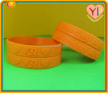 Factory directly embellished epoxy embossed silicone bracelet / wristband / rubber band factory ensure