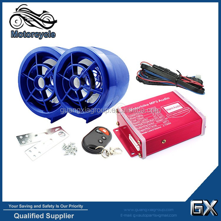 "Wholesale 2.5"" Motorcycle Bluetooth Amplified Audio Speaker System FM MP3 Anti-theft Alarm"