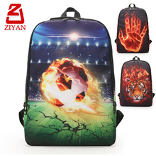 2017 New trendy unique book bags kids backpacks fire tiger hand soccer printing cool elementary student custom school bag