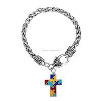 Alibaba Stock Autism Awareness Enameled Religious Puzzle Cross Charm Bracelet