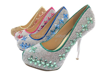 2015 Latest high quality high thin heel ctrystal ladies Italian party shoes and bag set