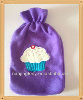 purple color fleece cover for hot water bottle, with cake ,