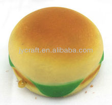 soft rebound PU fake mini hamburger bread food sample model for keychain parts and cellphone strap ornaments