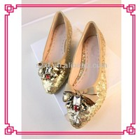 Shiny gold sequins women flat rubber sole wedding shoes shiny crystal sexy bridal shoes