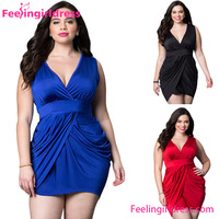 V Neck High Waist Asymmetric Hemlines Party Dresses for Fat Girls
