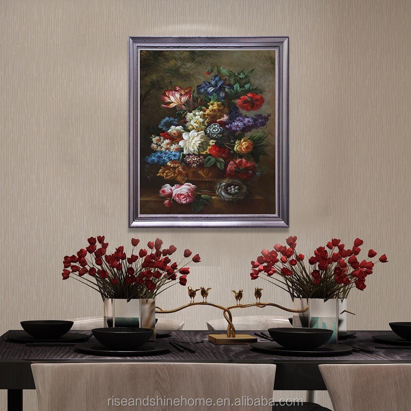 Wholesale noble flower handpainted decorative oil painting on canvas