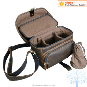 crazy horse vintage leather camera bag in high quality standard