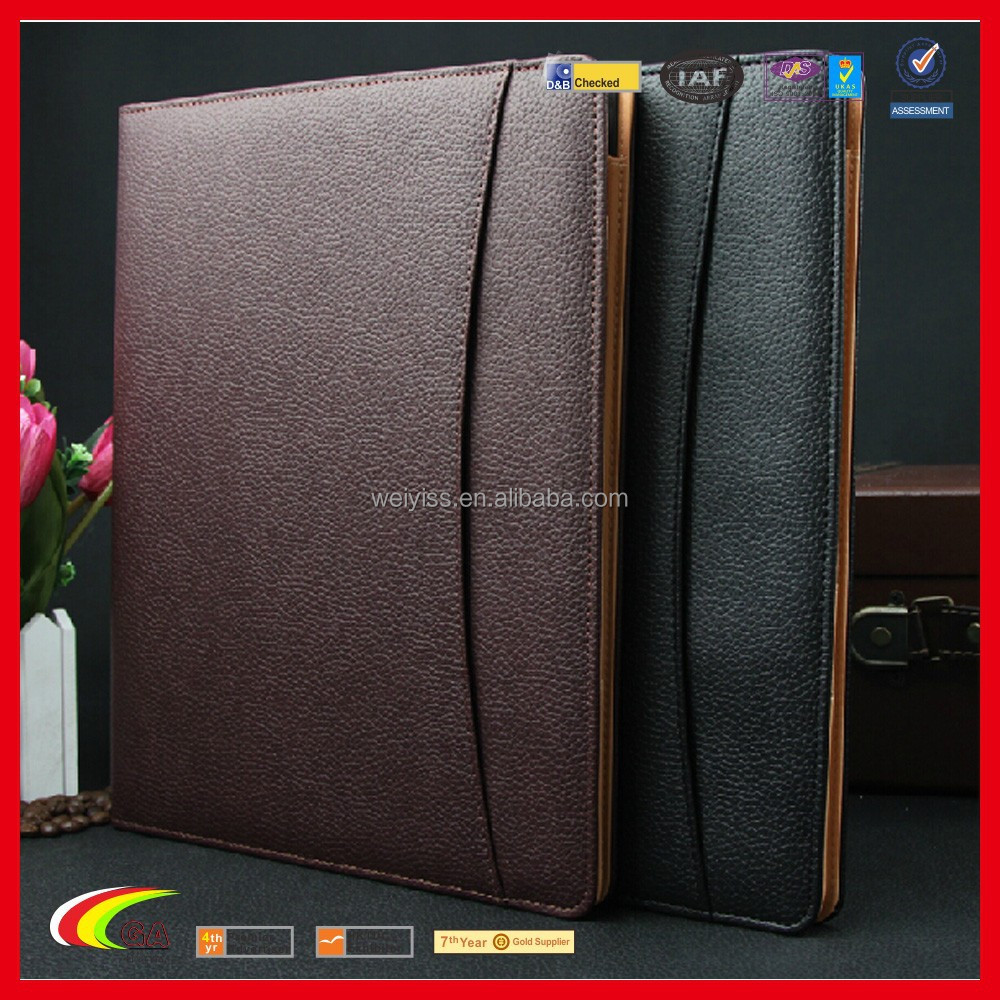 Wholesale A4 Leahter Notepad Holder, Cheap Leather Portfolio with Metal Clip Best Design Leather Notepad Folio