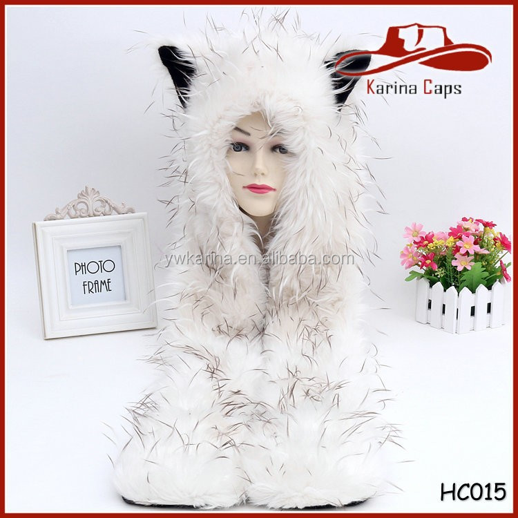 Wholesale Winter Cap Fashion Faux Fur Plush Animal Hat Scarf Glove All In One