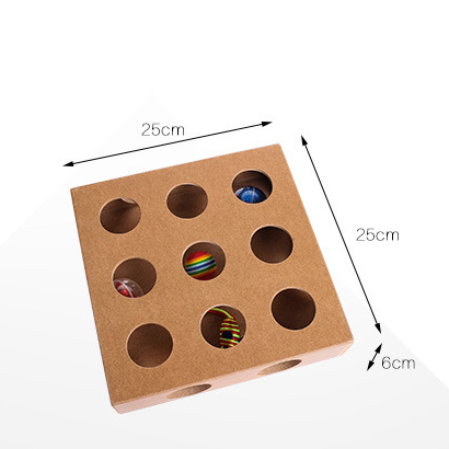 Wooden 17 Holes Treasure Hunting Intellectual Puzzle Exercise Interactive Pet Cat Toy