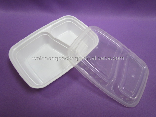 Plastic food container double Compartment Microwavable black/white Container