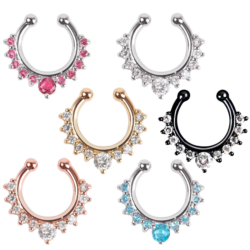CC1010 fake piercing crystal nose gold ring body jewelry indian nose piercing fake septum