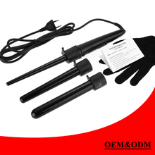 3 Parts Hair Curler Set Clip less Curling Iron The Wand Interchangeable Tourmaline 3 in 1 hair curling wand