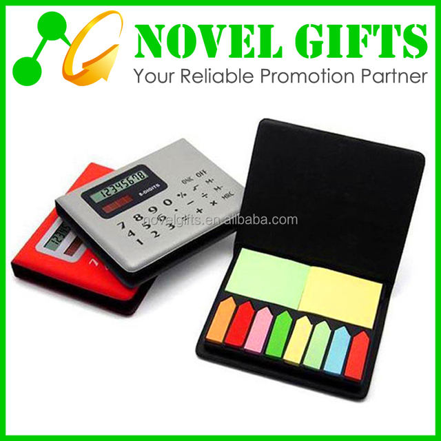 Custom Solar Calculator with sticky Notes Notepad and PU Cover