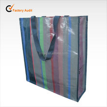 Recycled stripe design laminated pp woven shopping bag