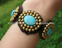 Bracelet Handmade Turquoise Stone With Brass Beads from Thailand Adjustable Size