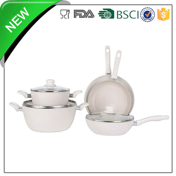 silicon painted bakelite handle aluminum stone die cast casserole cookware set