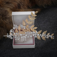 Jewelry Wholesale!!!2016 NEW Wedding Accessories for Women Crystal Gold Leaf Hair Comb Bridal Hair Jewelries MoonSo KH2693