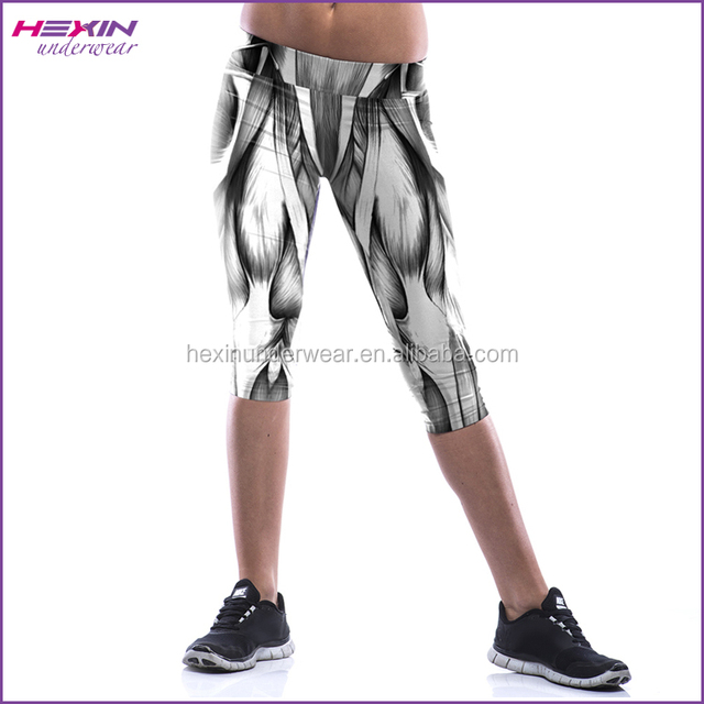 China Gray Muscle Printed Three Quarter Womens Fitness Tights Leggings