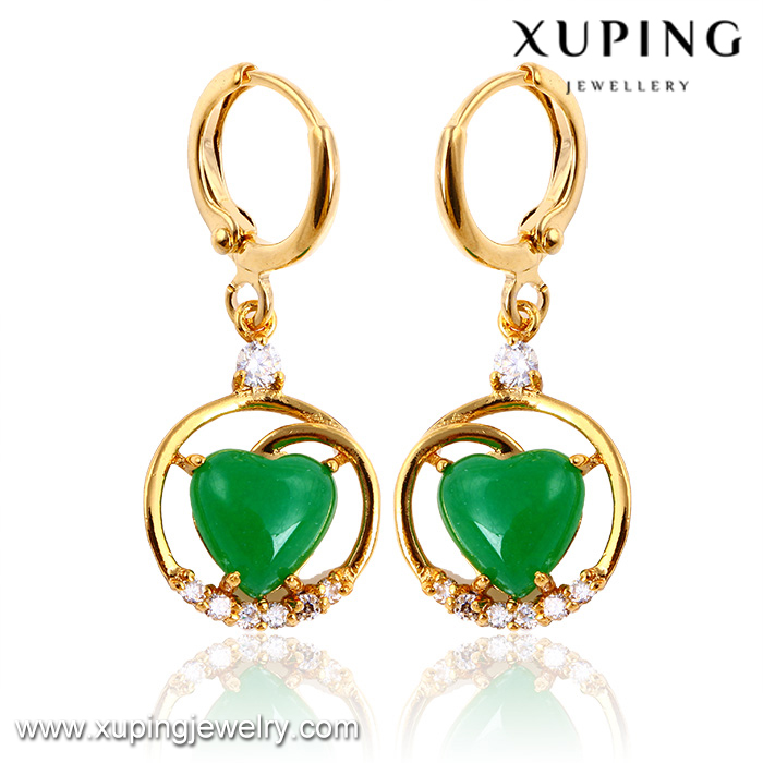 24546 xuping saudi gold jewelry 24k gold jade gemstone <strong>earring</strong>