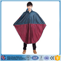 adult breathable 100% polyester waterproof rain poncho with PVC hood