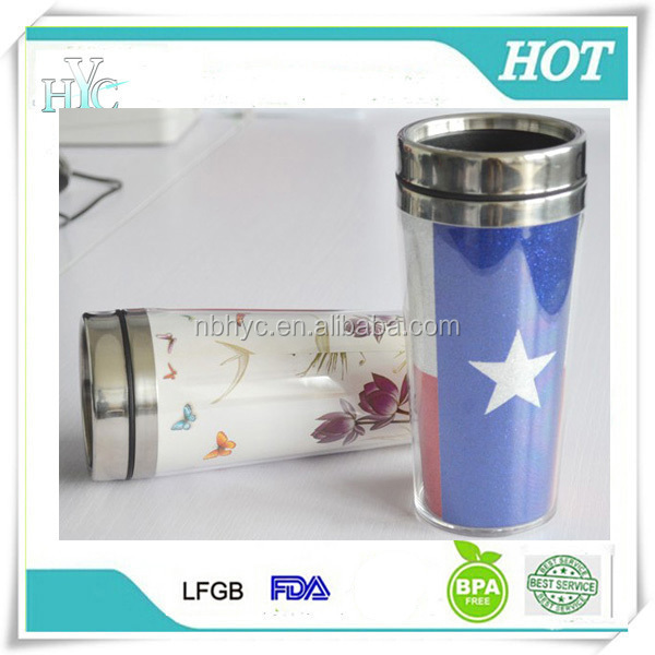 Double wall stainless steel coffee mug with Photo insert, 16ounce food grade insulated custom photo insert travel mug