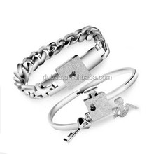"His and Hers Matching Set Couple Titanium ""Only You Have My Key"" Bangle Bracelet"