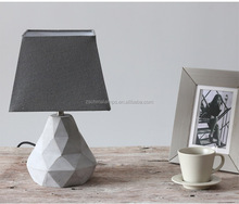 wholesale fashionable cement pear shaped table lamp with gray pagoda fabric white lining lamp shade
