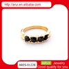 Elegant Ladies sexy noble dubai gold ring with black diamond