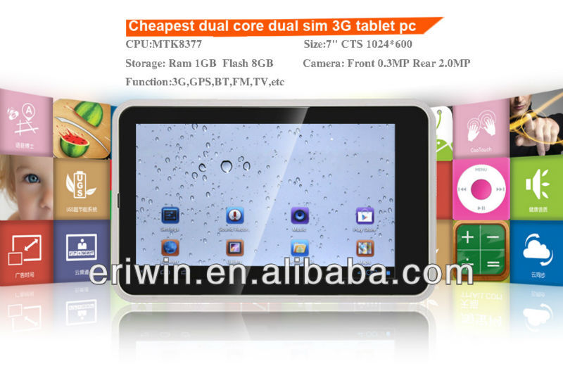 ZX-MD7010 7 inch cheapest android 4 mtk6577 dual core dual sim lemon tablet pc for sale