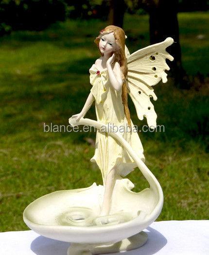 resin angel design candel holder for home decoration