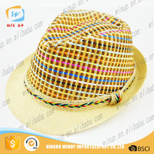 2016 Black Crown straw boater hat natural wheat Straw Hat with Beige Trim