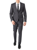 Gray One Button Side Vent Custom Made Narrow Collar Regular Fit Mens Blazer Suits (Jacket+Pants+Tie) CS027 Mens Suit