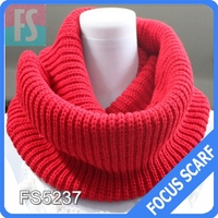 Solid fashion knitted scarf,knit infinity 100% acrylic scarf