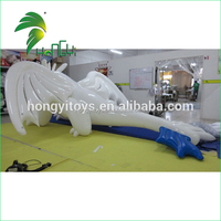 High Quality Inflatable White Dragon With Glossy TPU Material / Inflatable 3 Long Dragon Toy For Sale