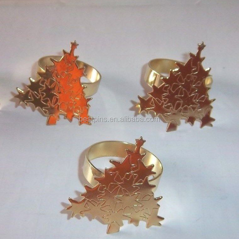 Solid Brass Christmas Tree Napkin Rings