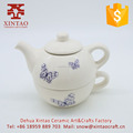 Glazed Full Hand Painted White with blue butterfly Ceramic Teapot