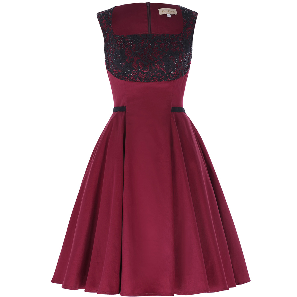Kate Kasin Sleeveless Square Neck Flared A-Line Wine red Cotton Retro Vintage Dress KK001021-1