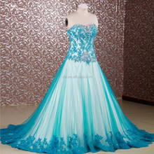 RSE655 Elegant Turquoise Vestidos De Fiesta Rhinestone Long Puffy Prom Dresses 2015 Long Sweetheart Made In China