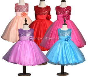New style girl party wear western dress kids beautiful model dresses sequin elegant frock design for girl
