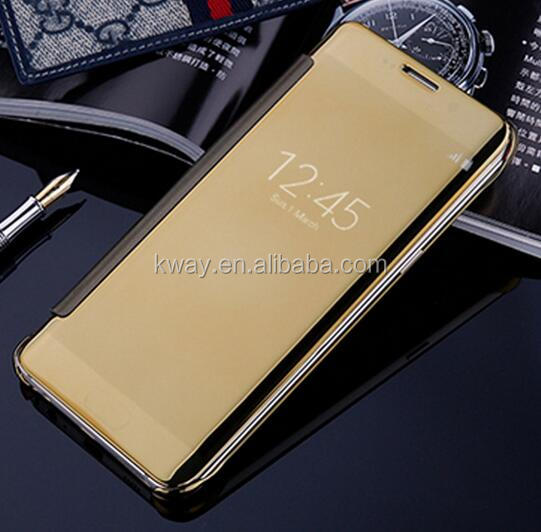 Clear View Window Smart Cover for Samsung Galaxy Note7 Note 7 S6 S7 edge Case Plating Mirror Screen Protect Flip Leather Cases
