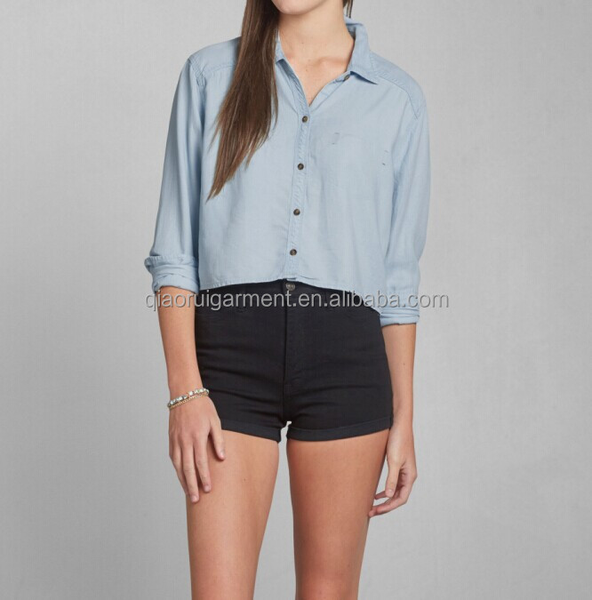 Factory Supply Top Quality ladies summer denim shirt from China manufacturer