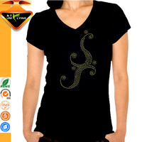 Custom Rhinestone Cheap Plain V neck T shirts for Girl