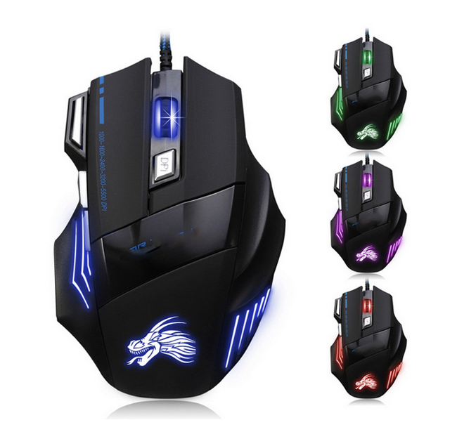 Adjustable 1000-5500 DPI 7 Buttons LED Optical USB Wired Gaming Mouse Mice Computer for Gamer