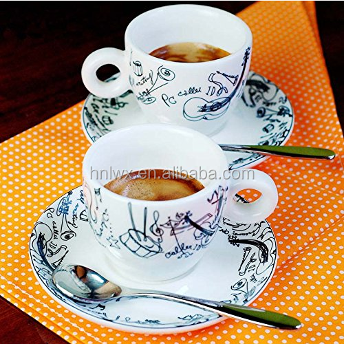 small coffe cup and saucer with stainless spoon, customer design