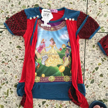 In-Stock egypt style girls t-shirt with lace fabric